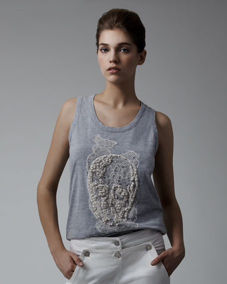 Pearl-Embroidered Skull Tank