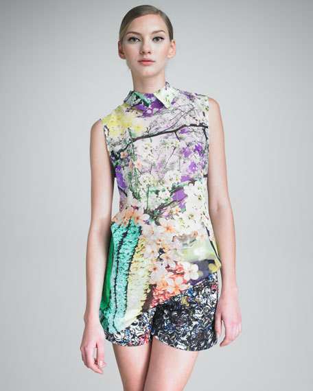 Sleeveless Floral-Print Tunic