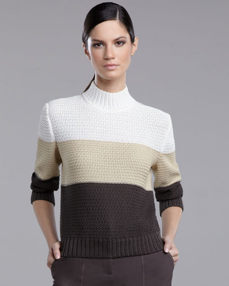 Crochet-Knit Colorblock Sweater