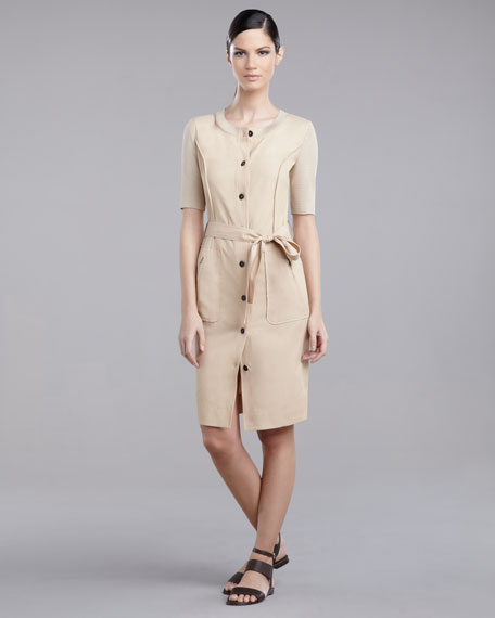 Button-Front Sheath Dress