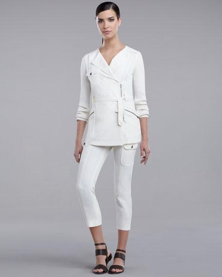 Cupro Cargo Pants, Cream