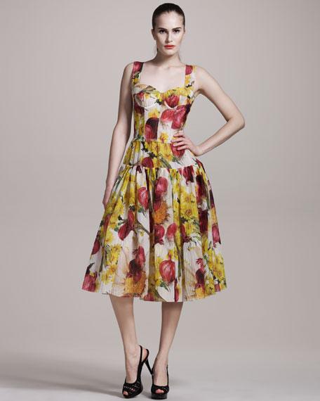 Onion-Print Bustier Dress
