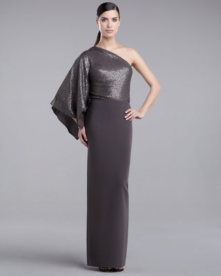 Sequin-Bodice Gown