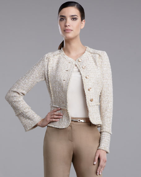 Sequin Tweed Fitted Jacket