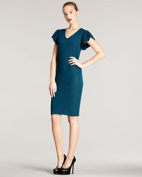 Puff-Sleeve Knit Dress