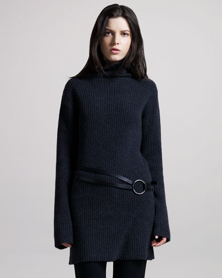 Long Rib-Knit Sweater, Dark Gray