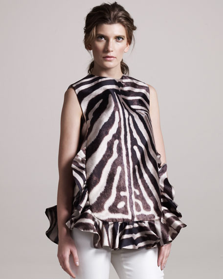 Ruffle-Trim Zebra Tunic