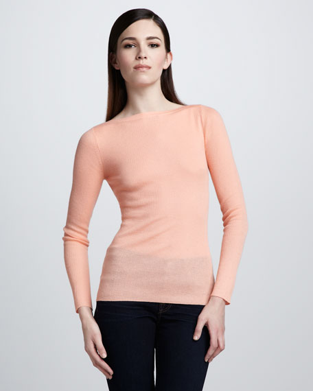 Featherweight-Cashmere Boat-Neck Top