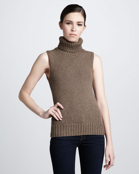 Cashmere Turtleneck Tank, Java
