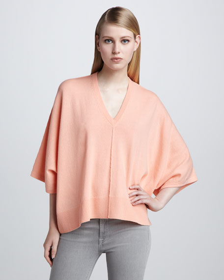Batwing-Sleeve Cashmere Sweater, Bisque