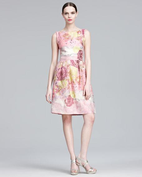 Floral-Jacquard Sheath Dress