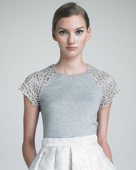 Short-Sleeve Knit Top With Tulle Shoulders