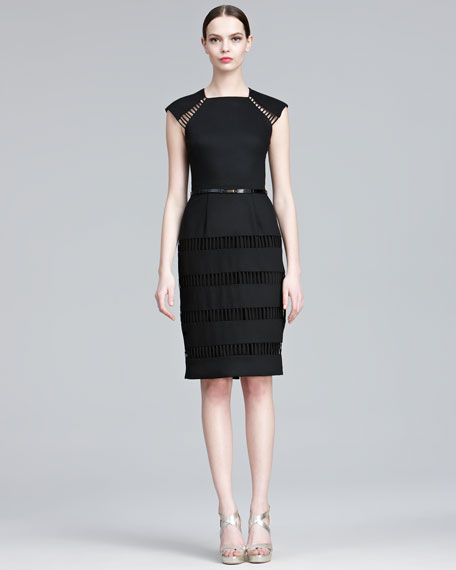 Stripe-Embroidered Sheath Dress