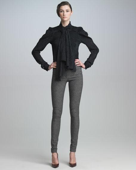 Stretch Tweed Skinny Pants