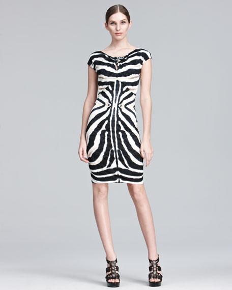 Zebra-Print Sheath Dress