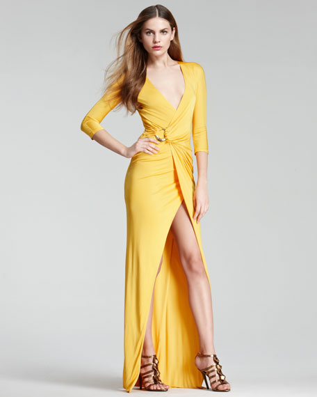 Faux-Wrap Gown, Yellow