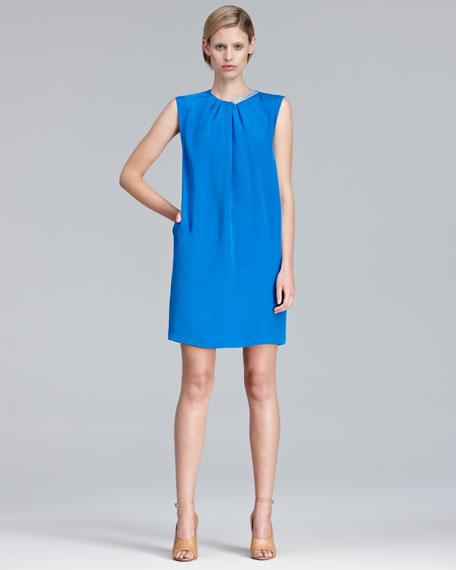 Beaded-Neck Shift Dress