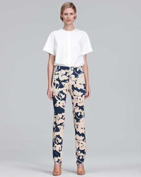 Slim Floral-Print Pants