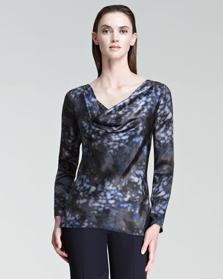 Printed Cowl-Neck Blouse