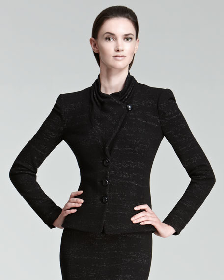 Three-Button Crepe Jacket