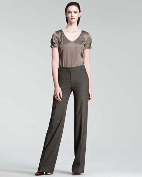 High-Waist Straight-Leg Pindot Pants