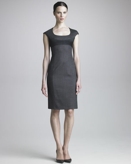 Solid Yoke Pindot Dress
