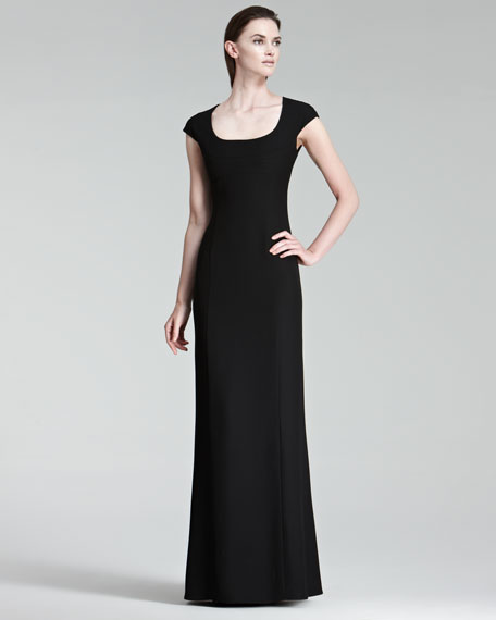 Trapunto-Detail Cap-Sleeve Gown