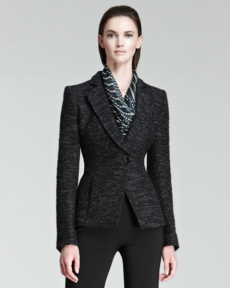 One-Button Tweed Jacket