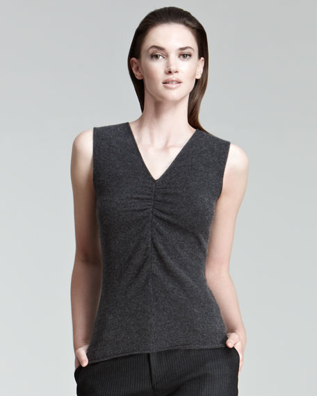 Cashmere Ruched Sleeveless Sweater