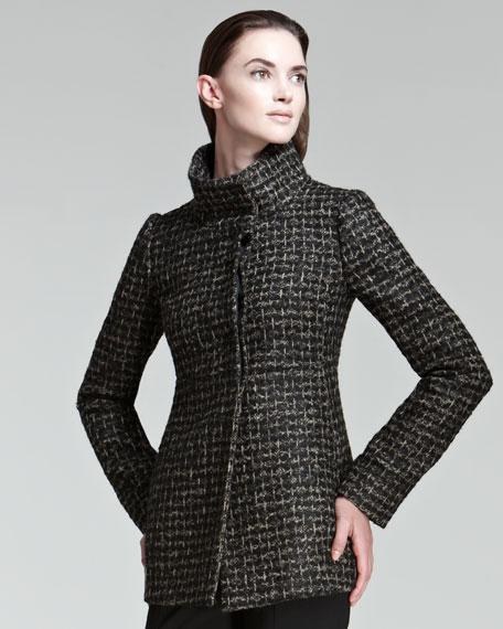 Funnel-Collar Tweed Coat