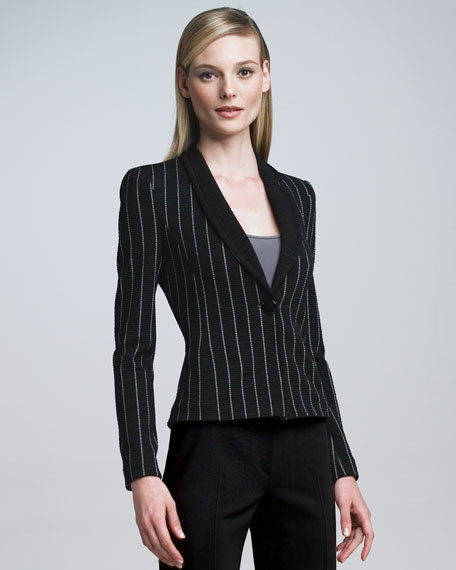 Pinstripe Knit Jacket