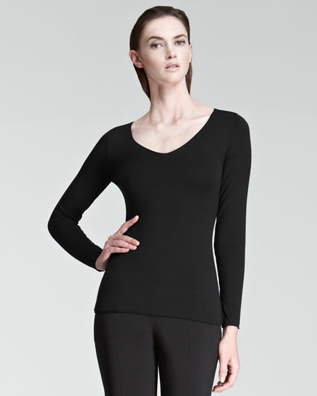 Stretch Jersey V-Neck Top