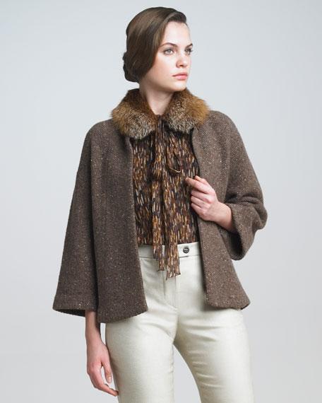 Fur-Trim Cardigan