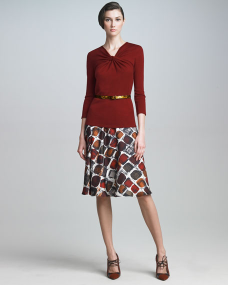Square-Print Skirt