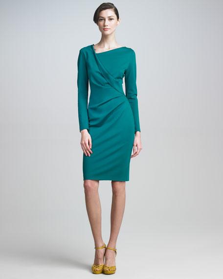 Long-Sleeve Draped Dress