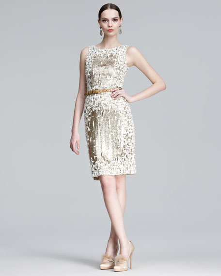 Sequined Metallic Dress