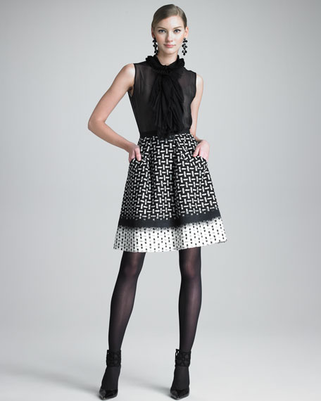Printed Sateen Skirt