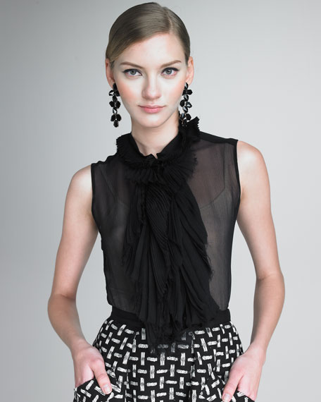 Layer-Front Sheer Blouse