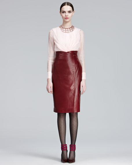 High-Waist Leather Skirt