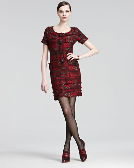 Jewel-Buttoned Tweed Dress