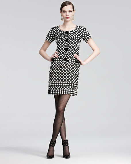 Star-Check Tweed Short-Sleeve Dress