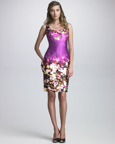 Belted Floral-Print Sateen Dress
