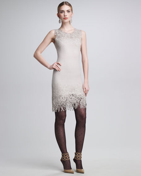 Sleeveless Dress With Sequins and Bird Nest Embroidery