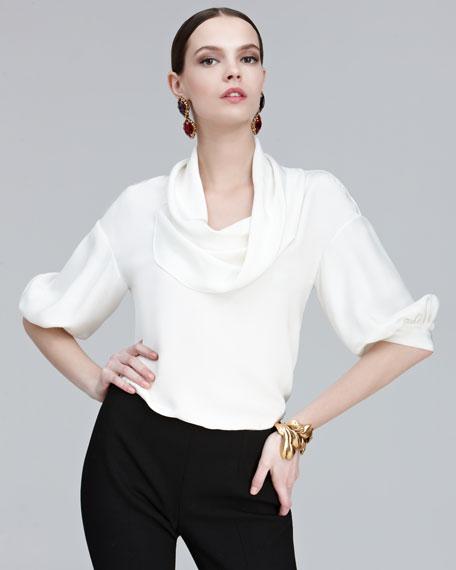 Drape-Neck Silk Blouse