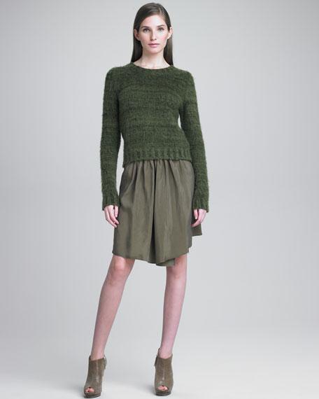 Pleated Taffeta Skirt