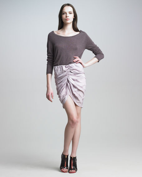 Striped Skirt with Center Ruching