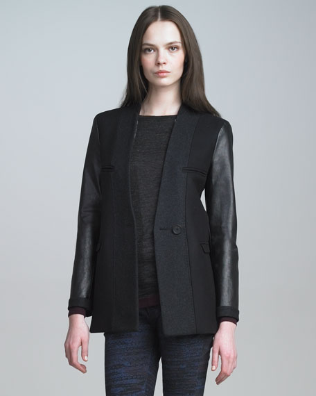 Two-Tone Jacket with Leather Sleeves