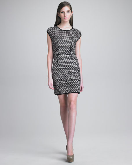 Fitted Basket-Weave Dress