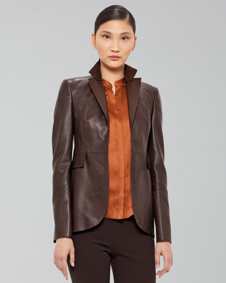 Perforated Leather Blazer