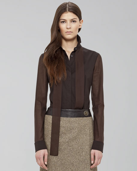 Tie-Detailed Button-Down Blouse